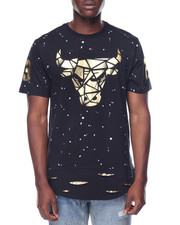 Men - Metallic Bull Scallop Zip Tee