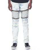 Quilted - Leg Washed Denim Jeans