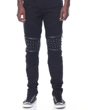 Men - Studded - Knee Stretch Denim Jeans