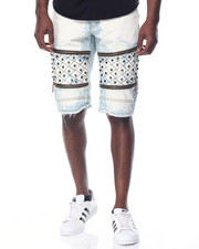 Men - Quilted - Leg Washed Denim Shorts