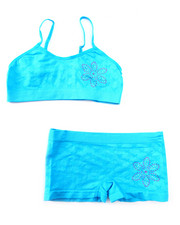 DRJ Underwear Shop - Teen Rhinestone Flower Seamless Bra Short/Set
