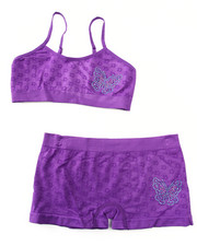 DRJ Underwear Shop - Teen Rhinestone/Butterfly Seamless Bra Short/Set