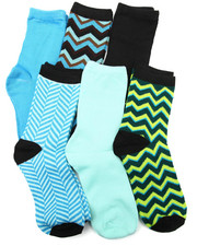 Women - Chevron Mix 6Pk Crew Socks