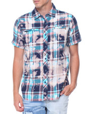 Men - Bleached Plaid S/S Buttondown Shirt