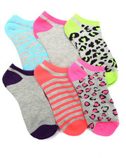 Women - Animal Mix Hot Brights 6Pk Low Cut Socks