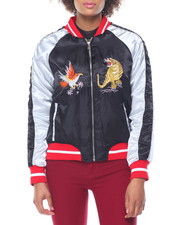 Fashion Lab - Bi-Color Raglan Sleeve Embroidered Detail Bomber Jacket
