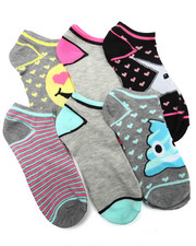 Women - Emoji Space Dye  6Pk Low Cut Socks