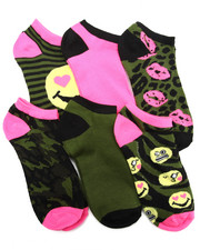 Women - Camo Emoji 6Pk Low Cut Socks