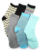 Accessories - Chevron Mix 6Pk Crew Socks