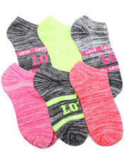 Accessories - Bright Neon Space Dye 6Pk Low Cut Socks