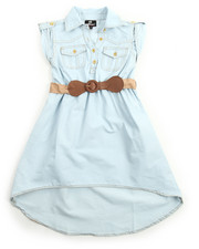 Girls - Belted Hi Low Chambray Dress (7-16)