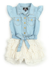 Girls - Chambray /Ruffle Lace Tier Romper (2T-4T)
