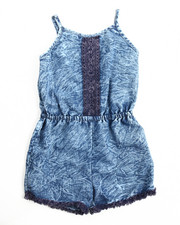 Girls - Acid Wash Romper (7-16)