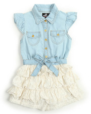 Girls - Chambray /Ruffle Lace Tier Romper (4-6X)