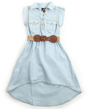 Girls - Belted Hi Low Chambray Dress (4-6X)