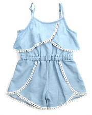 Girls - Crochet Trim Chambray Romper (2T-4T)