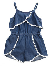 Girls - Crochet Trim Chambray Romper (4-6X)