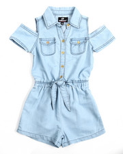 Girls - Cold Shoulder Chambray Romper (4-6X)