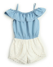 Girls - Chambray & Crochet Lace Romper (4-6X)