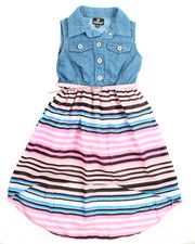 Girls - Striped Skirt Denim Dress (4-6X)