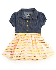 Girls - Gold Foil Chambray /Tulle Dress