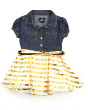 Girls - Gold Foil Chambray /Tulle Dress (2T-4T)