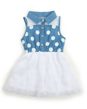 Girls - Polka Dot Chambray/ Tulle Dress (2T-4T)