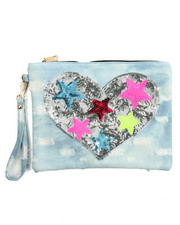 Bags - Denim Patch Heart Clutch