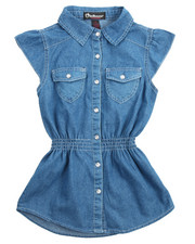 Fashion Tops - Ruffle Sleeve Denim Woven (7-16)