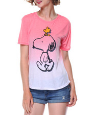 Graphix Gallery - Snoopy & Woodstock Dip Dye Drapey High Low Shirt Tail Tee