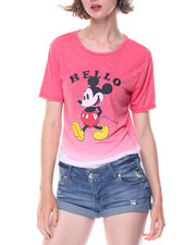 Graphix Gallery - Mickey Hello Goodbye Dip Dye Drapey High Low Shirt Tail Tee