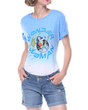 Graphix Gallery - Wonder Woman  Dip Dye Drapey High Low Shirt Tail Tee