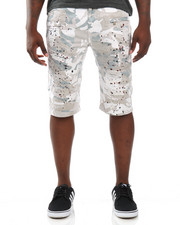 Buyers Picks - Splatter Camo Moto - Style Twill Shorts