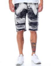 Men - Premuim Wash Zipper Moto Denim Shorts