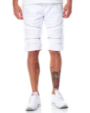 Men - Splash - Paint Zipper Rip - Off Denim Shorts