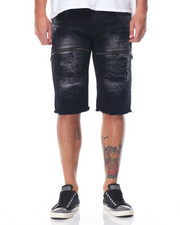 Men - Moto Twill Shorts W/ Faux Leather Backing