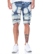 Men - Premuim Wash Zipper Moto Denim Shorts