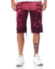 Men - Tie - Dye Multi - Zipper Rip - Off Moto Denim Shorts