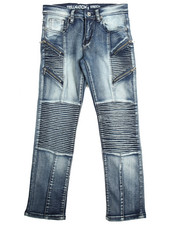 Boys - 5 Pocket Zip Trim Moto Jeans (8-20)