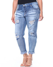 Women - Whiskers Destructed Frayed Hem Skinny Jean (Plus)