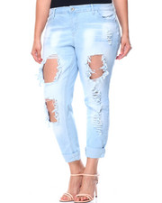 Women - Blow Out Destructed Roll Cuff Skinny Jean (Plus)