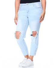Women - Blow Out Knee Dog Bite Hem Skinny Jean (Plus)