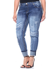 Women - Rips & Tears Roll Cuff Skinny Jean (Plus)