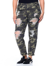 Women - Camo Destructed Boyfriend Jean (Plus)