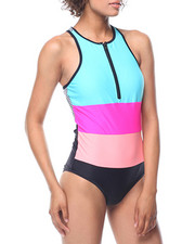 Swimwear - Front Zipper Racer - Back Swimsuit