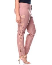 Pants - Super Stretch Lattice Side Cut Outs Skinny Pant (Plus)