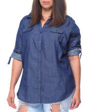 Fashion Lab - Cotton Denim Roll Tab Hi-Low Hem Shirt (Plus)