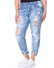 Fashion Lab - Destructed Hem Potassium Wash Skinny Jean (Plus)