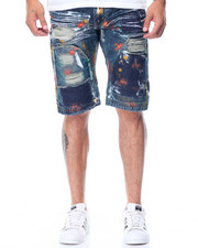 Men - Multi Colored Patches Denim Shorts