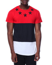 Shirts - S/S Coloblock Zipper Side Crew Neck Tee
